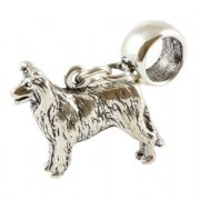 Border Collie Sterling Silver Dangle Charm / Carrier Bead